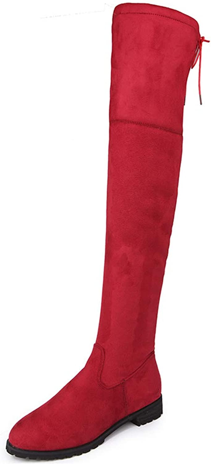 Super color Women's Over The Knee Boots Long Knight Boots Pointy Head High Flat Boots Fashion Outside Boots