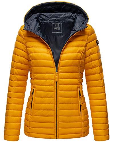 Marikoo Damen Jacke Steppjacke mit Kapuze Übergangsjacke ASR21 (Gelb, L)