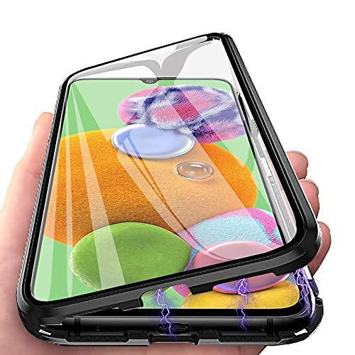 CaseLover - Cover per Samsung A22, Galaxy A22 5G, con chiusura magnetica a 360 gradi, ultra sottile e doppio vetro temperato in metallo, cornice antiurto, antiurto, colore: Nero