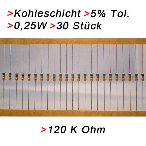 Widerstand 120 K Ohm, 30 Stück, Kohleschicht 0.25W 5% Widerstände Resistor