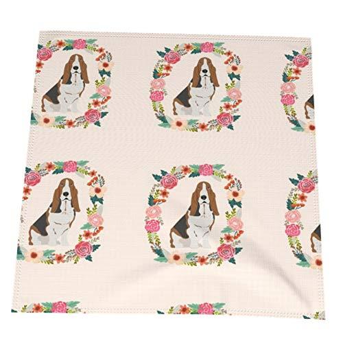 MZZhuBao Basset Hound Wreath Florals - Mantel de tela para hotel, restaurante, fiesta, banquete, 20 x 20 en 2 unidades