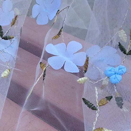 DONG Tela de Encaje de Flores de Tul de Gasa para el Vestido de Malla Floral Tissus Encaje Bordado DIY Costura Patchwork Paño Ancho 130 cm, 5 Azul Claro, 1 Yarda