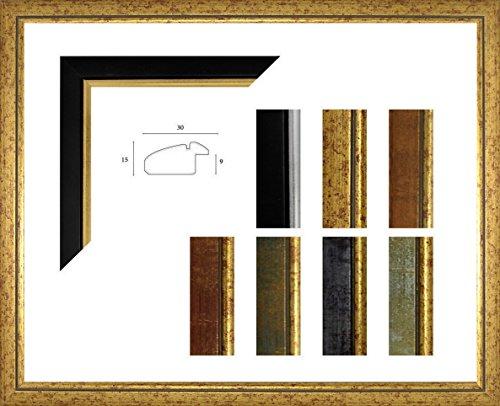 Paula Bilderrahmen 65 x 85 cm Massivholz dezente leicht abgerundete Barrockleiste mit Goldkante 85x65 cm Farbauswahl in 18, Gold mit Kunststoffglas Antireflex