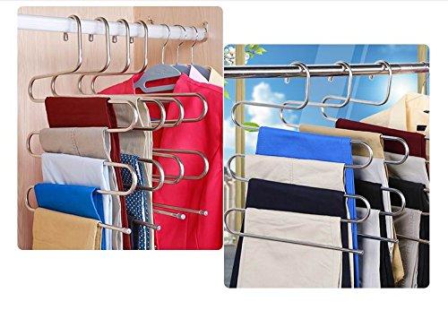 Grucce salvaspazio per pantaloni in acciaio inox a 5livelli multi-funzione, per appendere pantaloni, cravatte, sciarpe, confezione da 3