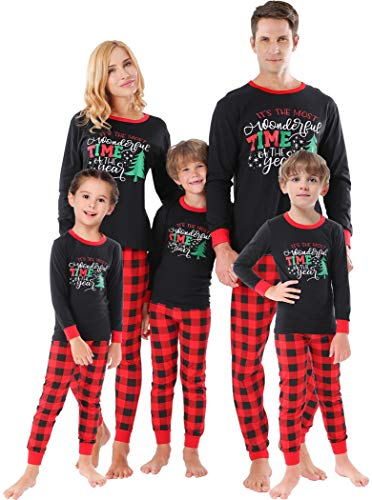 Matching Family Christmas Pajamas Women Men Sleepwear Boys Girls Tree Clothes Red Plaid Pjs Kids Size 4