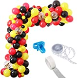 Mickey Color Balloon Garland Kit, 115 Pack Red Yellow Black Confetti Party Balloons Ideal for Mickey Mouse Birthday Baby Shower Party Decorations Supplies