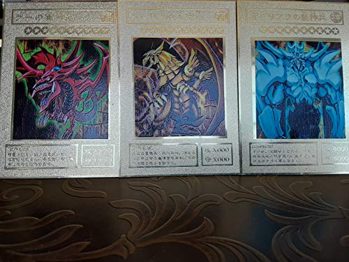Gold Yugioh Egyptian God Set Metal Card Slifer The Sky Dragon, Obelisk The Tormentor, The Winged Dragon of Ra Colorful Shiny Red Blue Yellow Gold Yugioh Card Metal yugioh Card