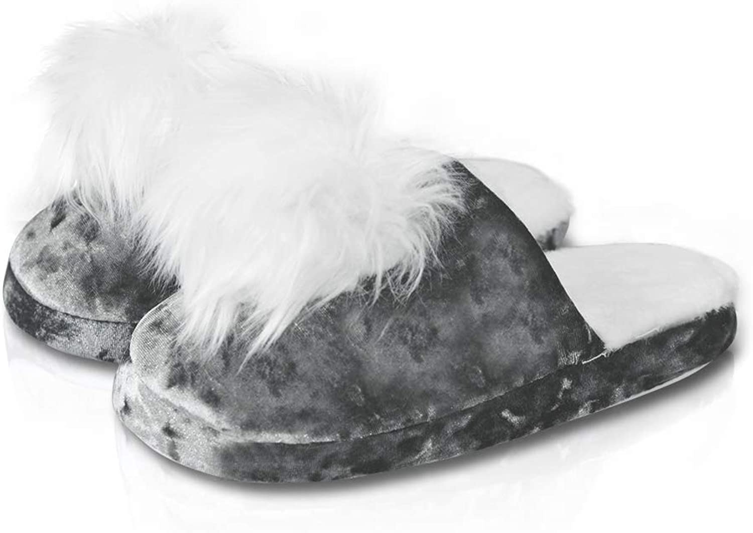 LA PLAGE Women's Backless Indoor Plush House Slippers with Pom-poms for Winter