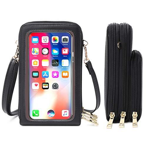 HAIWILL Bolso bandolera para teléfono móvil para mujer, pantalla táctil, resistente al agua, bolso de mano, de piel, cartera, retro, para iPhone 11 Pro/11/Xs Max/XR/Xs