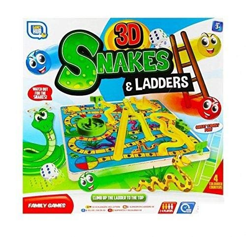 Unibos 3D Snakes and Ladders Kids Board Game Traditional Family Toy 3+ Years New