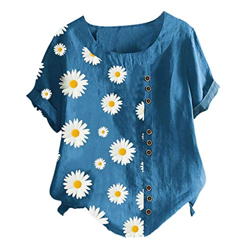 Kenmeko Camicetta Donna Blusa Maglia Elegante e Casual Camicetta a Maniche Corte in t-Shirt con Scollo a V Manica Corta con Stampa Floreale (M,2Blu)