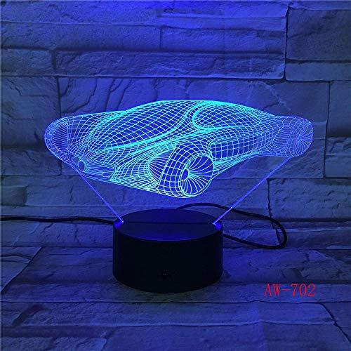 3D ilusión luz LED noche luz para su coche de carreras 7-color táctil visual USB lámpara de escritorio regalo de cumpleaños niños