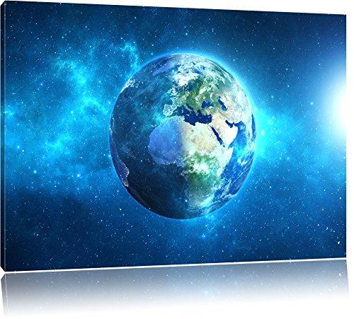 Erde im Universum Format: 100x70 cm auf Leinwand, XXL riesige Bilder fertig gerahmt mit Keilrahmen, Kunstdruck auf Wandbild mit Rahmen, günstiger als Gemälde oder Ölbild, kein Poster oder Plakat