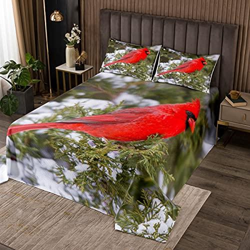 Erosebridal Cardinal Bedding Set Red Bird Bedspread Set for Kids Boys Teens,Pine Tree Coverlet Set Animal Snow Quilt Set Soft and Breathable Bedroom Decor Twin Size