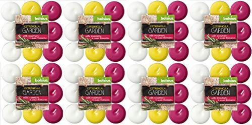 Bolsius Garden 144 Tealight Citronella/Rosmarino, Cera Profumata, Bianco/Giallo/Fucsia, 8 Pack da 18 pz, 4 h