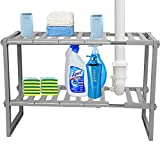YOKEPO 2-Tier Under Sink Expandable Shelf Organizer Rack, Kitchen or Bathroom Adjustable Storage Shelves(Expands 15-3/8 to 26Inches) (Grey)