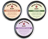 Wild Thera Baby Care Set. Organic, Natural Diaper Rash Cream, Chest Rub & Baby Face Ointment for rashes, irritated skin, sniffles, congestion, runny nose, dry skin, eczema, psoriasis 2 oz