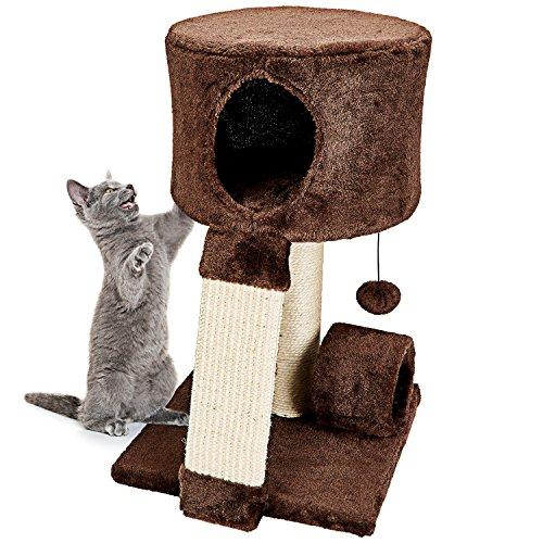 Árbol Rascador Para Gatos - Casas Para Gatos Suave, 3 Juguetes Para Gatos, Tunel Para Gatos - Accesorios Para Gatos - 51 X 31 X 31 Cm, Marrón Y Beige