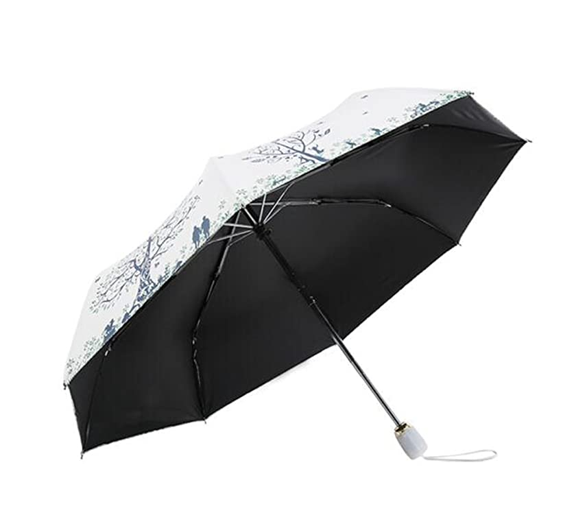 品揃え気絶させる妖精JSSFQK パラソル、傘自動三重パラソル創造性Msフォールドアンブレラホワイトブルー防水 傘