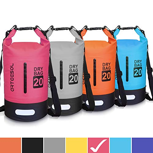 arteesol Borsa Impermeabile, 5L 10L 20L 30L Dry Bag/Sacco Sacchetto Impermeabile con Cinghia Regolabile Lungo per Kayak Tour in Barca Canoa/Pesca/Rafting/Nuoto/Snowboard