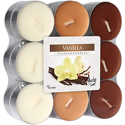 hibuy Duft Teelichter/Duftkerzen - Vanille Duft - Brenndauer 4 Stunden - 18 Stück