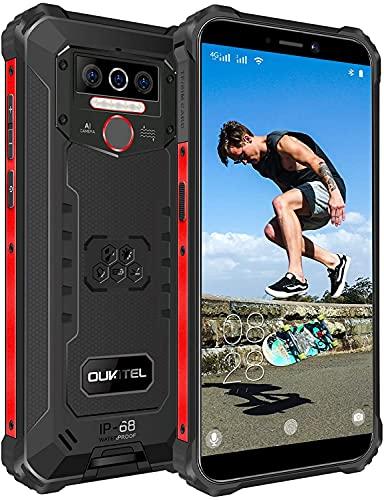 OUKITEL WP5 Pro Rugged Smartphone, 4GB+64GB 8000mAh Batteria, 5.5  HD Otto-core Android 10 Telefono Resistente, Impermeabile IP68 Antiurto Cellulare Offerta, 4 LED Flash, Dual Sim GPS Cellulari Nero