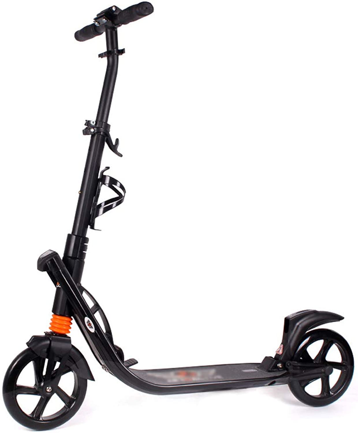 Foldable Unisex Adult Kick Scooters with Water Cup Holder, Portable Commuter Scooters with Big Wheels, Birthday Gifts for Women Men Teens Kids, NonElectric