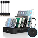 Charging Station for Multiple Devices, MSTJRY USB Charging Station Dock Switch Cell Phone 5 Port Charging Station, Compatible with iPhone iPad Cell Phone Tablets (Black, 5 Short Cables Included)