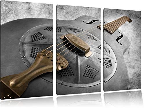 Prachtige oude gitaarFoto Canvas 3 deel | Maat: 120x80 cm | Wanddecoraties | Kunstdruk | Volledig gemonteerd