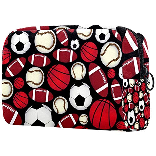 Makeup Bag Travel Cosmetic Bag Pouch Purse Handbag with Zipper - Sport Baseball Football Rugby Pattern