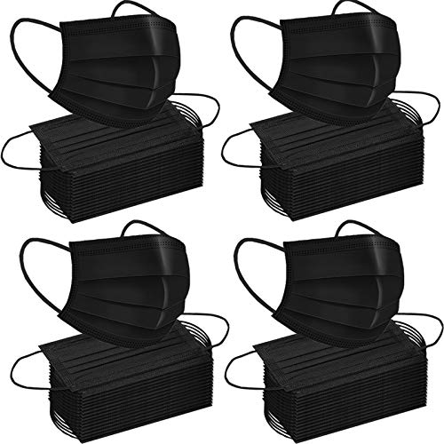 200pcs Face Mask Black Disposable Masks-3Ply Breathable Earloop Mouth Mask Cover Mouth Mask Women and Men Daily Comfy Mask (black, 200)