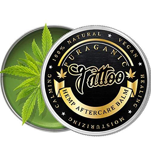 Puraganic Hemp Tattoo Aftercare Balm Crema Calmante Post Tatuaje de Cáñamo | 100% Natural sin Parabenos, ni Petrolatos - Antibacterial, Anti Cracking, Antiinflamatorio, Revitalizante. LATA GRANDE 60ml