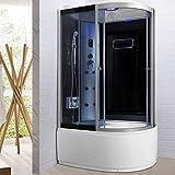 Bagno Italia Cabina doccia idromassaggio box semicircolare 6 getti multifunzione 120x80 cm con...