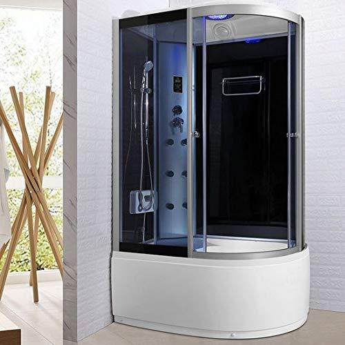 Bagno Italia Cabina doccia idromassaggio box semicircolare 6 getti multifunzione 120x80 cm con bluetooth