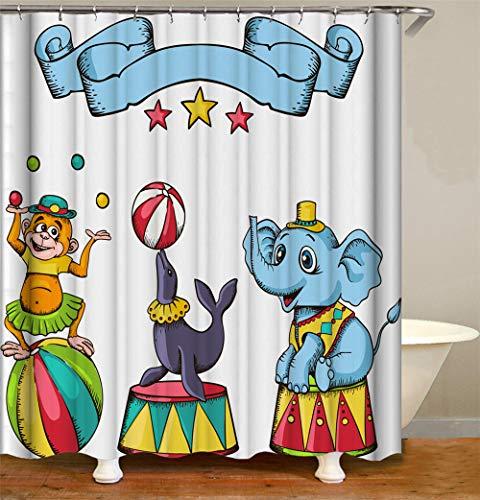 Duschvorhang Zoo Duschvorhang Waschbar 100prozent Polyester 240 X 200 cm Anti-Schimmel Wasserdichter Waschbarer Mit 12 Ringhaken Für Badewanne Und Dusche