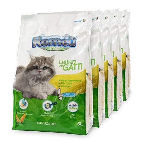 ROMEO Vegetal Ball, lettiera per gatti 30 litri sabbia gatto agglomerante, 100% vegetale mais bianco, lettiera gatto assorbe e neutralizza odori e liquidi, sabbia per gatti smaltibile nel Wc, organico