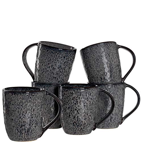 Leonardo Tasse Matera 6-er Set, 430 ml, Set aus 6 Keramik Tassen, spülmaschinengeeignet, mit Glasur, anthrazit, 018563