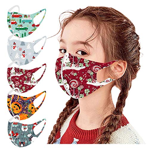 LiLiMeng 5PCS Kid's Christmas Printed Face Msaks, Safety Anti-Dust & Splash Cloth Macks Reusable Washable Face Coverings for Boys and Girls, 5 Pack Christmas Party Accessories (K)