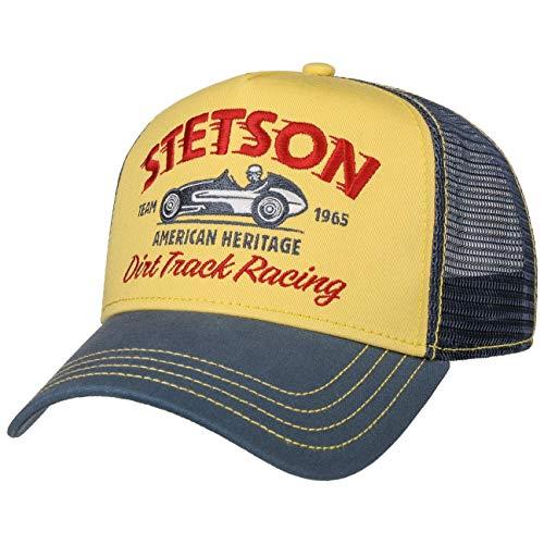 Stetson Dirt Track Racing Trucker Cap Herren - Aus Baumwolle - One Size (55-60 cm) - Verstellbare Mesh Cap - Snapback mit luftigem Netzteil - Zweifarbige Basecap - Sommer/Winter blau One Size