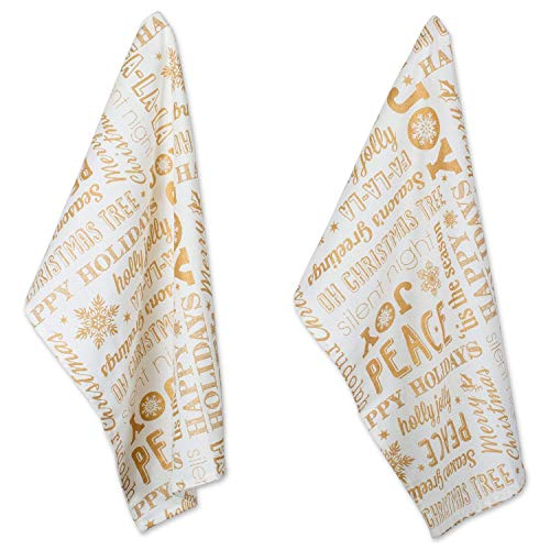 DII Cotton Decorative Christmas Metallic Dish Towel 18 x 28' Set of 2, Oversized Kitchen Dish Towels, Perfect Holiday, Hostee, Housewarming Gift-Christmas Collage Gold