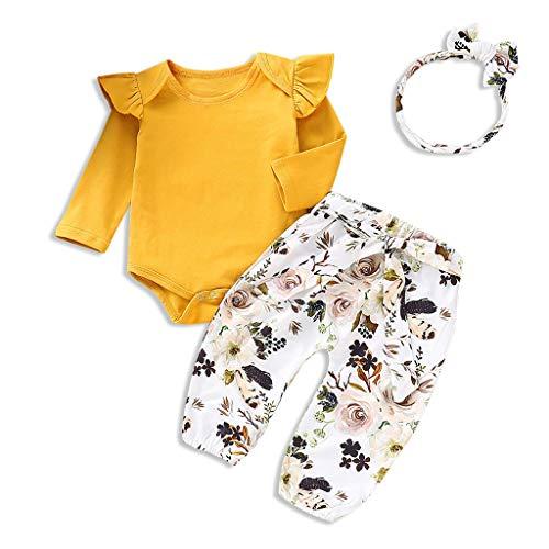 IFFEI Baby Meisjes Lange Mouw Romper met Bloemenprint Broek en Hoofdband 3 Stuk Outfits Set voor Peuter Meisjes