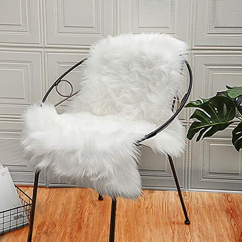 ZCZUOX Faux Schaffell Teppich, Faux Lammfell-Teppich Lang Kunstfell Schaffell Imitat Faux Bett-Vorleger Oder Matte für Stuhl Sofa for Wohnzimmer Schlafzimmer (Weiß, 50x80cm)