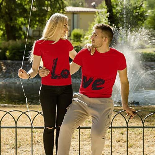 Hauts pour Hommes T-Shirt Col Rond Homme T-Shirt Imprimé Homme L.O.V.E T-Shirt Couple Amoureux pour 2 T-Shirt Décontracté à Manches Courtes Chemise Ample Homme Top Simple