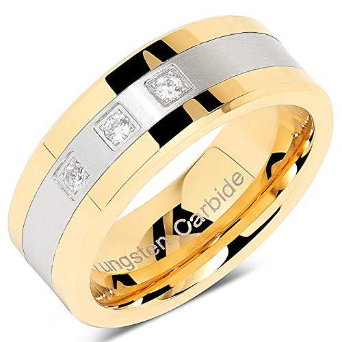 Tungsteno anillos para hombres oro plata cristal boda bandas de dos tonos 3CZ piedra matrimonio promesa tamaño 8–15