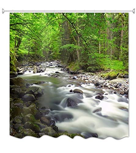A.Monamour Grüne Bäume Wälder Dschungel Wasserfälle Bäche Wasser Fließt In Den Fluss Stein Felsen Moos Natur Landschaft Wasserdicht Mehltau Beständig Stoff Duschvorhang Für Badezimmer 180X200 cm