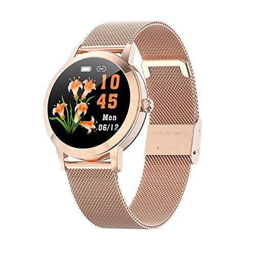Reloj Inteligente Mujer Smartwatch IP68 con Presión Arterial Recordatorio Menstrual Pulsómetro Monitor de Sueño Notificaciones Inteligentes, para iOS y Android[Diseñado para Mujeres] ( Color : Oro )