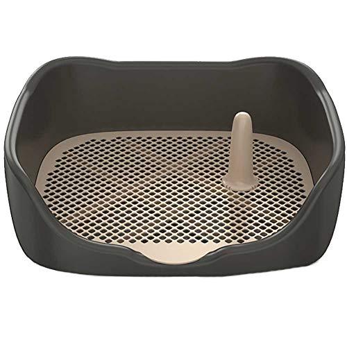 DAN Hundetoilette mit Zaun und Induzierte Säule,Toilette für Hunde Trainingsunterlage für Großer, mittlerer Hund - 50 * 41.5 * 16CM,Schwarz