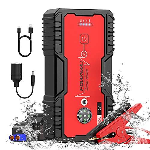 FOWAWU 18000mAh 1500A Arrancador de Coches,Arrancador de Baterias de Coche para 7L de Gasolina/5.5L de Diesel, Impermeable Jump Starter ,Portatil Booster Bateria Carga Rápida USB QC 3.0/DC 12V/LED
