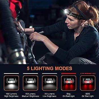 Cocoda Lampe Frontale LED Rechargeable, Torche Frontale Puissante Étanche with 5 Modes d?Éclairage, 200 LM, Ultra-Léger & Réglable Lampes Frontales Enfants pour Pêche, Camping, Randonnée, Cyclisme