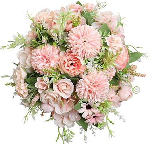 Yeelua Fleurs Artificielles, 3 Pièces Faux Pivoines Soie Hortensia Bouquet Réaliste Rose Arrangements Fleur De Mariage Décoration Centres de Table pour Home Office Party Decor
